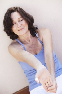 Mature woman relaxation exercise